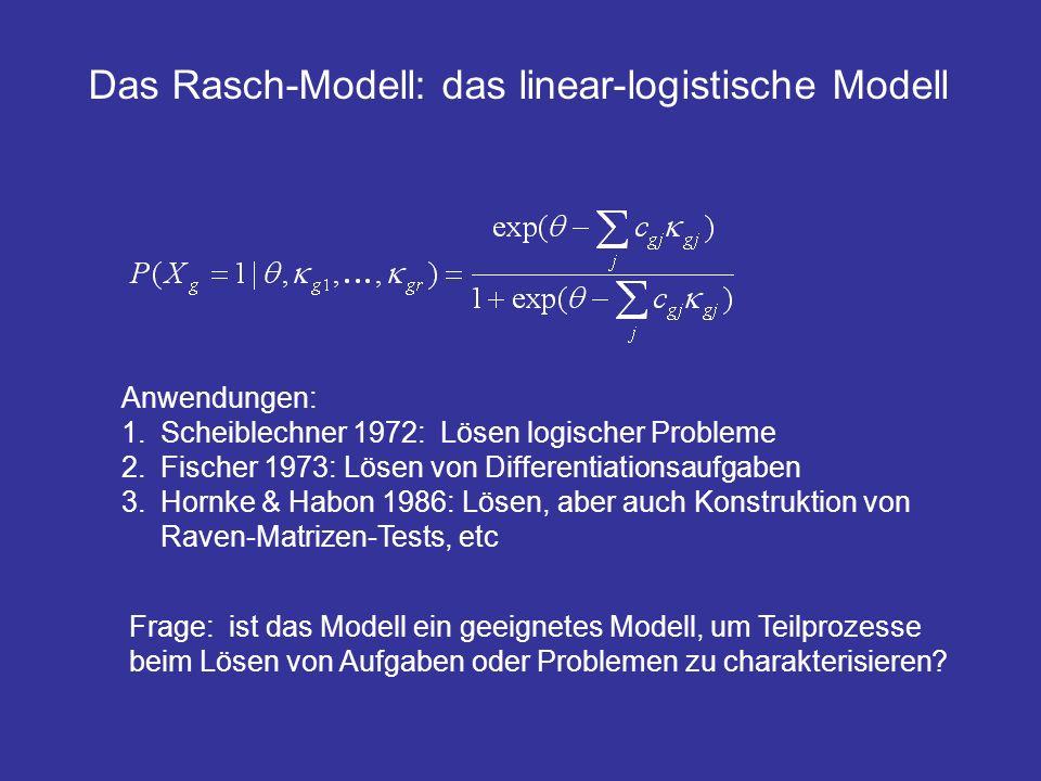 Anwendungen: 1.Scheiblechner 1972: Lösen logischer Probleme 2.Fischer 1973: Lösen von Differentiationsaufgaben 3.Hornke & Habon 1986: Lösen, aber auch