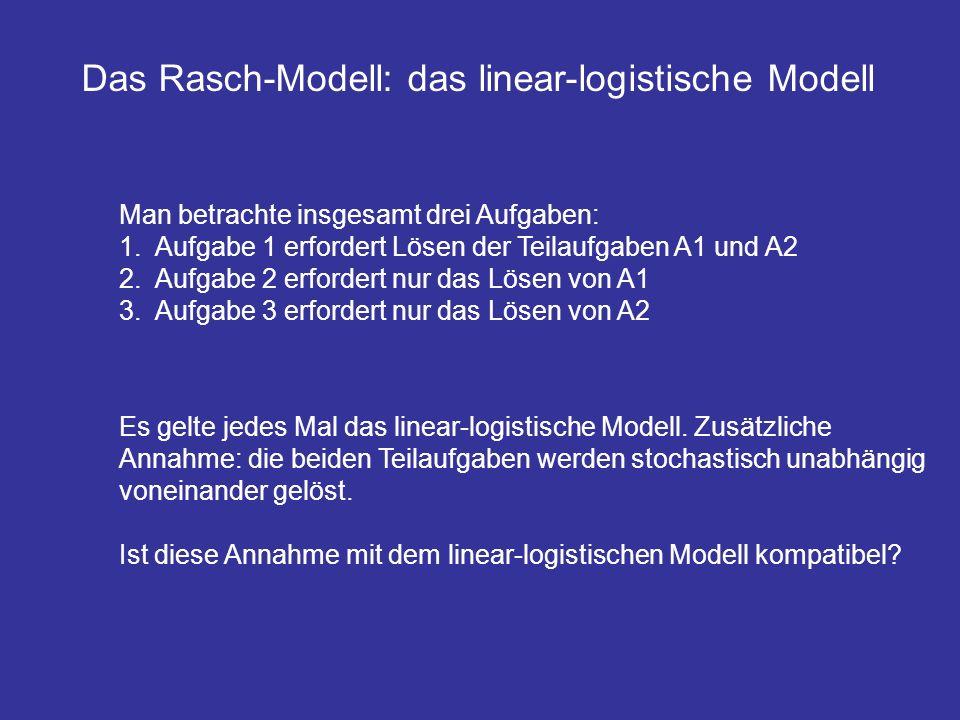 Man betrachte insgesamt drei Aufgaben: 1.Aufgabe 1 erfordert Lösen der Teilaufgaben A1 und A2 2.Aufgabe 2 erfordert nur das Lösen von A1 3.Aufgabe 3 e
