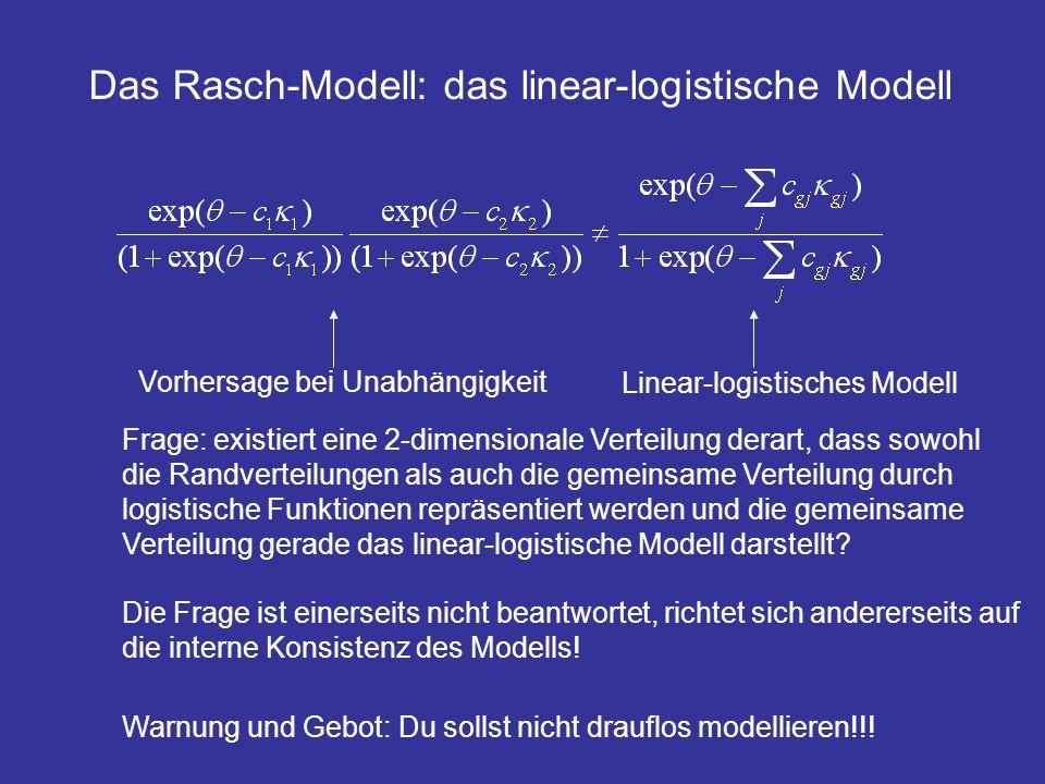 Vorhersage bei Unabhängigkeit Linear-logistisches Modell Frage: existiert eine 2-dimensionale Verteilung derart, dass sowohl die Randverteilungen als