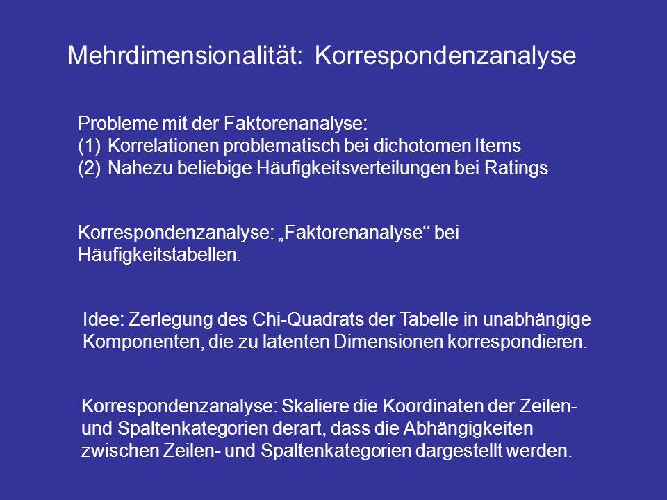Mehrdimensionalität: Korrespondenzanalyse Probleme mit der Faktorenanalyse: (1) Korrelationen problematisch bei dichotomen Items (2) Nahezu beliebige