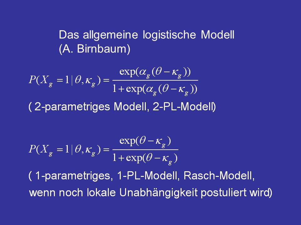 Das spezielle Rasch-Modell (G.Rasch) Der Test des Modells Wie gut, d.h.