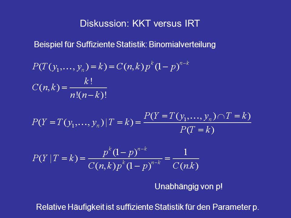 Diskussion: KKT versus IRT Beispiel für Suffiziente Statistik: Binomialverteilung Unabhängig von p! Relative Häufigkeit ist suffiziente Statistik für