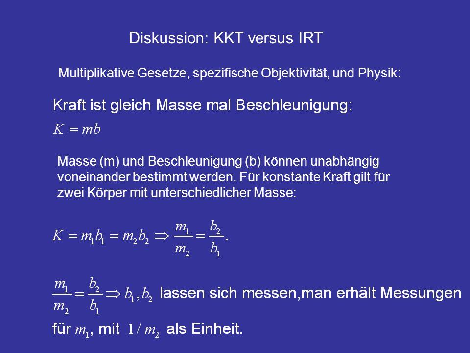 Diskussion: KKT versus IRT Masse (m) und Beschleunigung (b) können unabhängig voneinander bestimmt werden. Für konstante Kraft gilt für zwei Körper mi