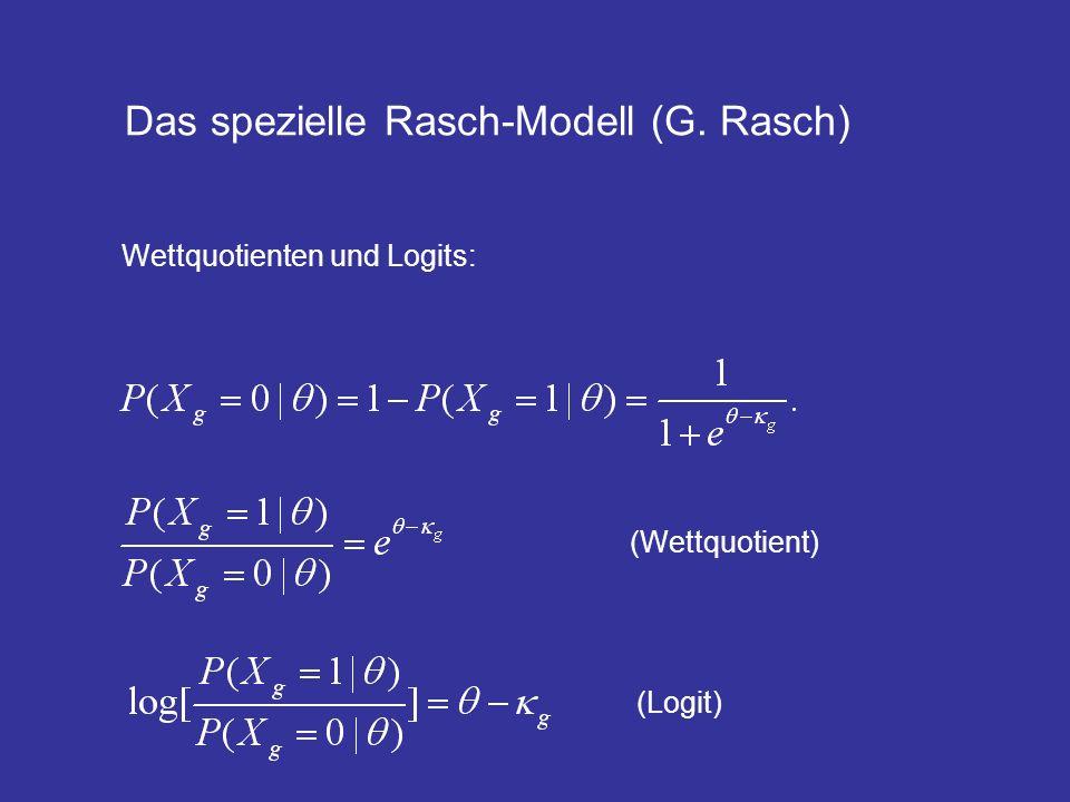 Das Rasch-Modell: mehrdimensionale Verallgemeinerung Faktorenanalyse: Logistische Regression!