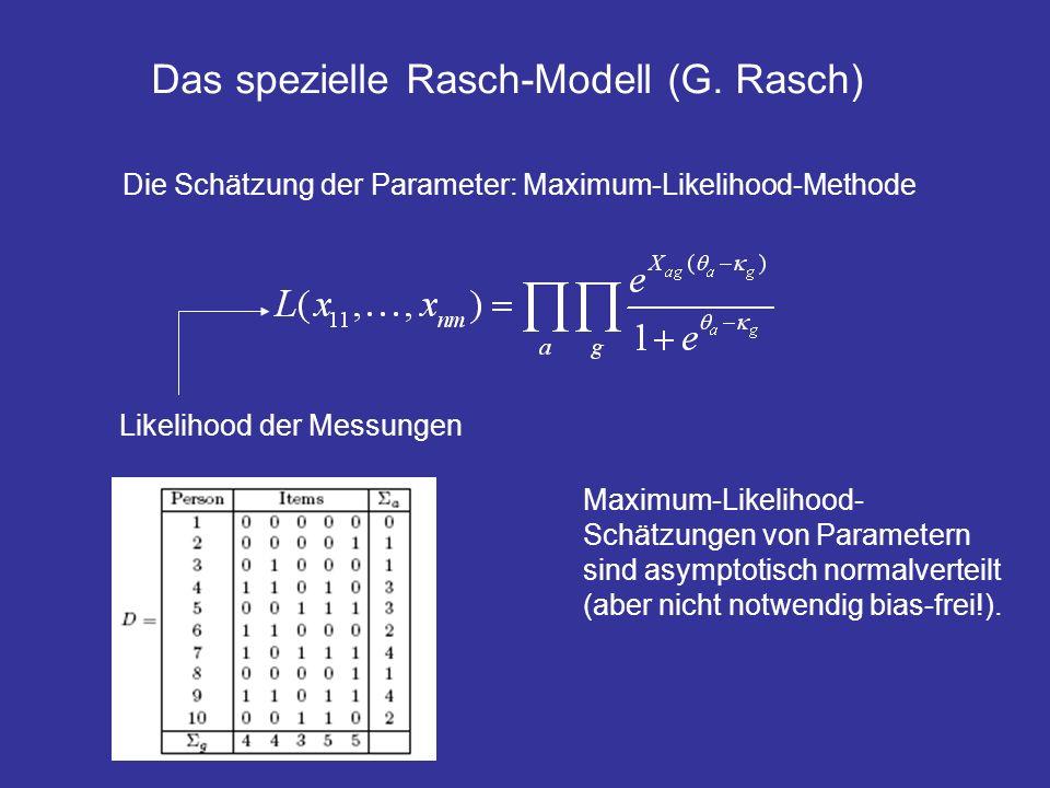 Das spezielle Rasch-Modell (G. Rasch) Die Schätzung der Parameter: Maximum-Likelihood-Methode Likelihood der Messungen Maximum-Likelihood- Schätzungen