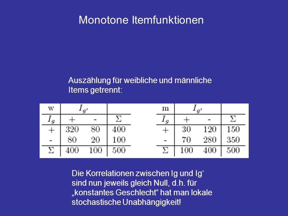 Monotone Itemfunktionen Auszählung für weibliche und männliche Items getrennt: Die Korrelationen zwischen Ig und Ig sind nun jeweils gleich Null, d.h.
