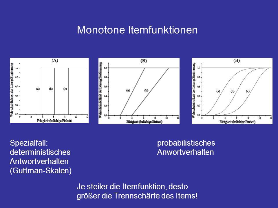 Monotone Itemfunktionen Spezialfall: deterministisches Antwortverhalten (Guttman-Skalen) Je steiler die Itemfunktion, desto größer die Trennschärfe des Items.
