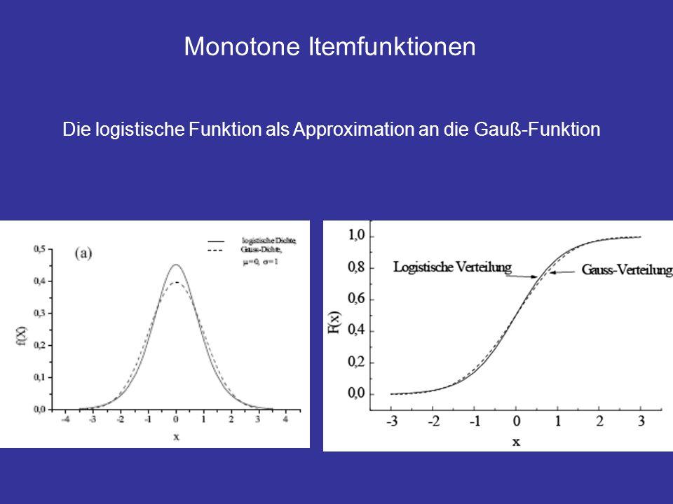 Monotone Itemfunktionen Interpretation der Parameter: Ogive-Modell Logistisches Modell