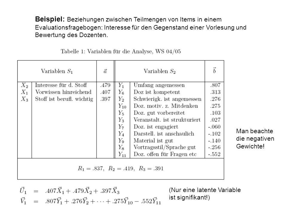 Beispiel: Beziehungen zwischen Teilmengen von Items in einem Evaluationsfragebogen: Interesse für den Gegenstand einer Vorlesung und Bewertung des Doz