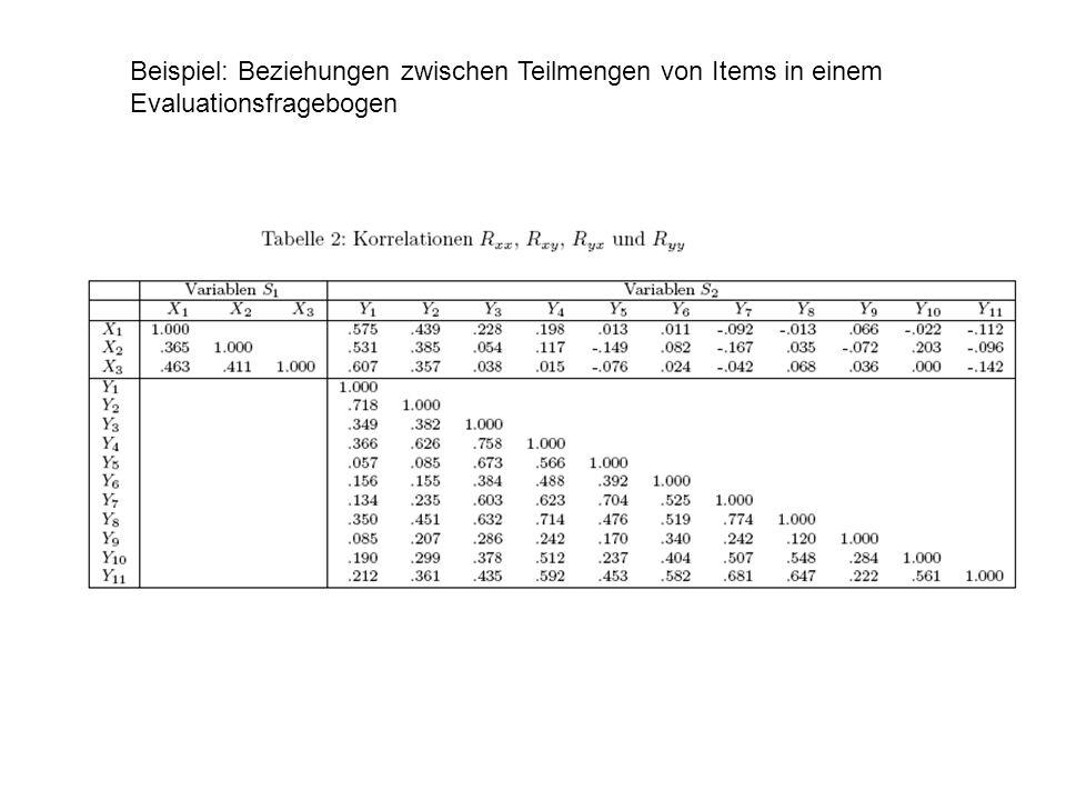 Beispiel: Beziehungen zwischen Teilmengen von Items in einem Evaluationsfragebogen