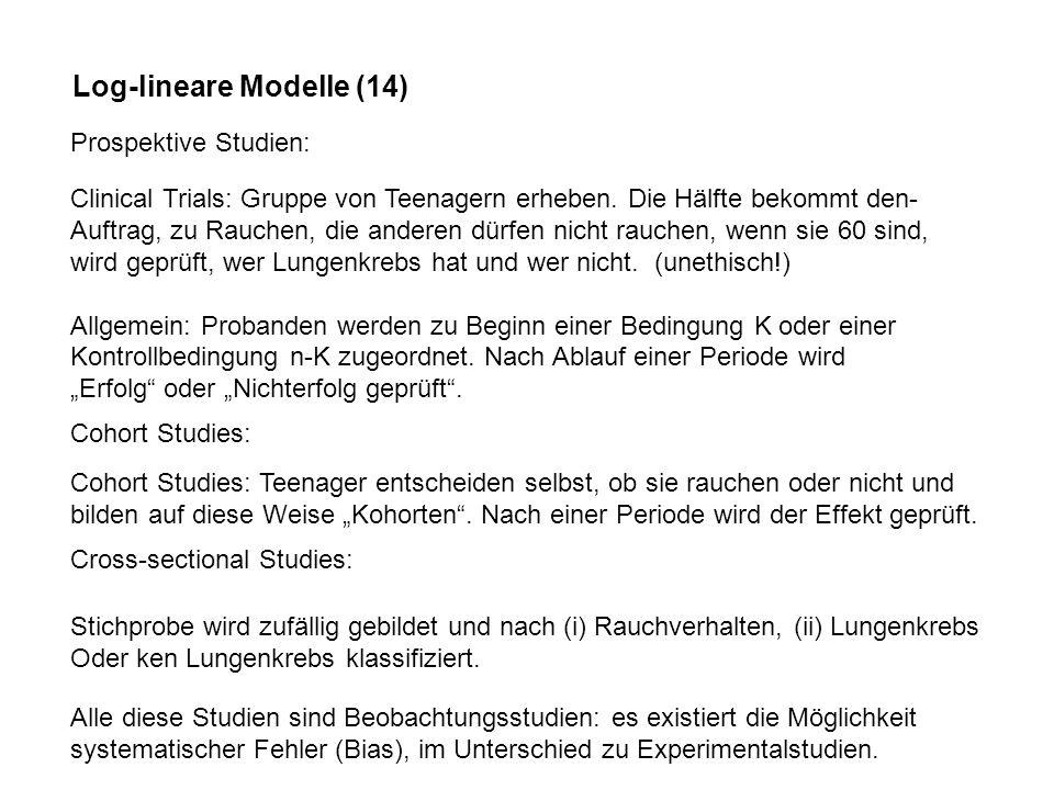 Log-lineare Modelle (14) Prospektive Studien: Clinical Trials: Gruppe von Teenagern erheben.