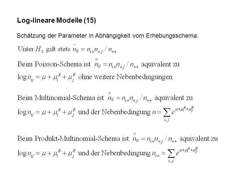 Log-lineare Modelle (15) Schätzung der Parameter in Abhängigkeit vom Erhebungsschema: