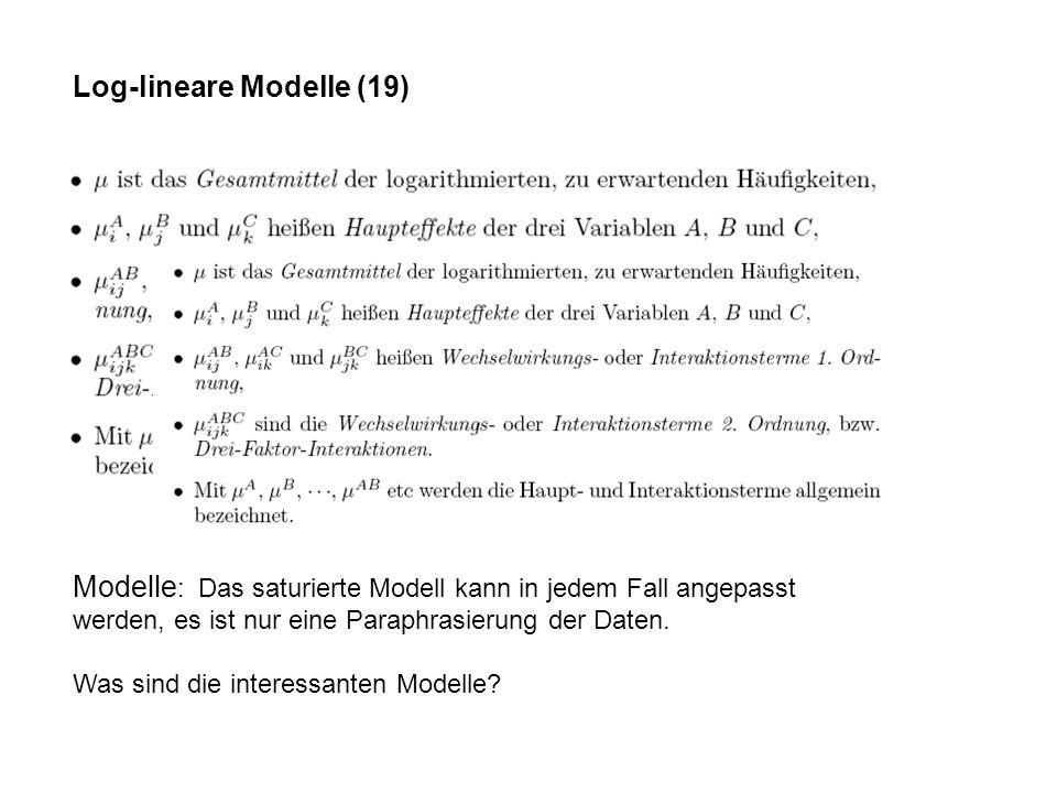 Log-lineare Modelle (19) Modelle : Das saturierte Modell kann in jedem Fall angepasst werden, es ist nur eine Paraphrasierung der Daten.