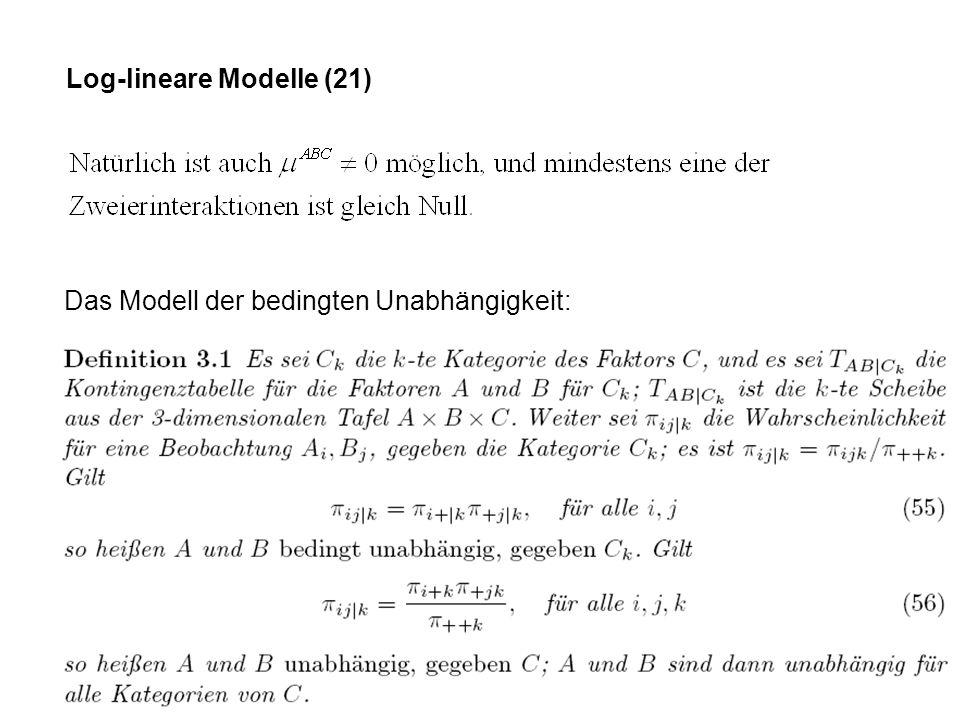 Log-lineare Modelle (21) Das Modell der bedingten Unabhängigkeit: