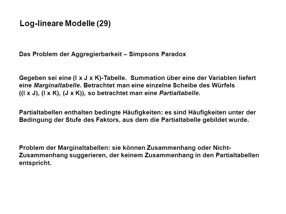 Log-lineare Modelle (29) Das Problem der Aggregierbarkeit – Simpsons Paradox Gegeben sei eine (I x J x K)-Tabelle.