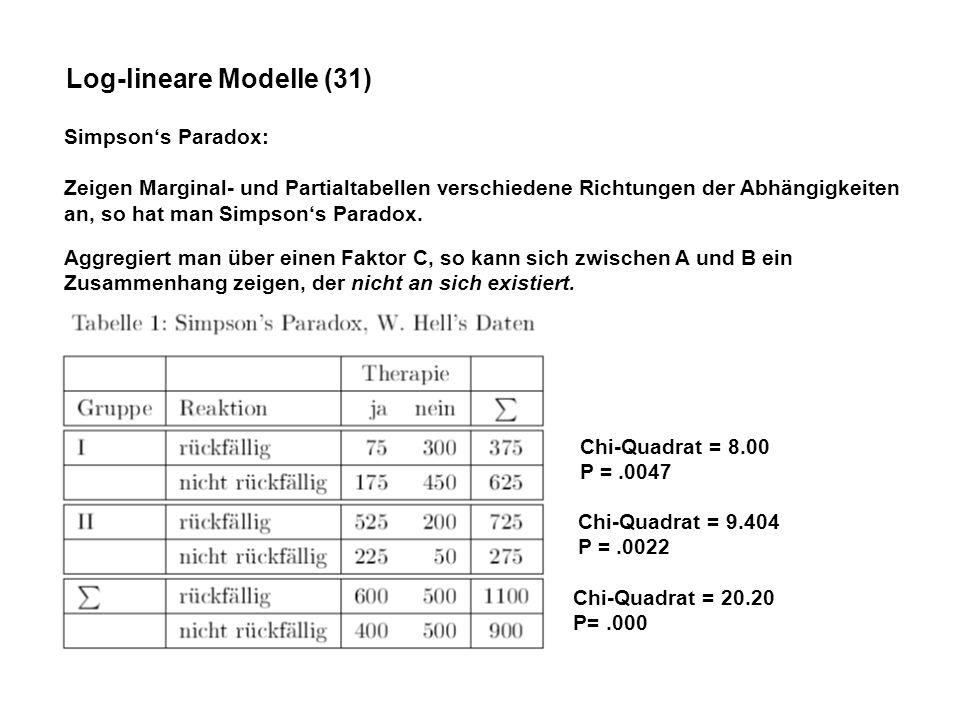 Log-lineare Modelle (31) Simpsons Paradox: Zeigen Marginal- und Partialtabellen verschiedene Richtungen der Abhängigkeiten an, so hat man Simpsons Paradox.