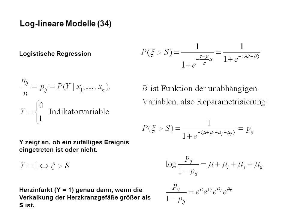 Log-lineare Modelle (34) Logistische Regression Y zeigt an, ob ein zufälliges Ereignis eingetreten ist oder nicht.