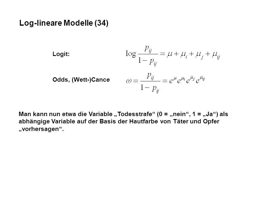 Log-lineare Modelle (34) Logit: Odds, (Wett-)Cance Man kann nun etwa die Variable Todesstrafe (0 = nein, 1 = Ja) als abhängige Variable auf der Basis der Hautfarbe von Täter und Opfer vorhersagen.