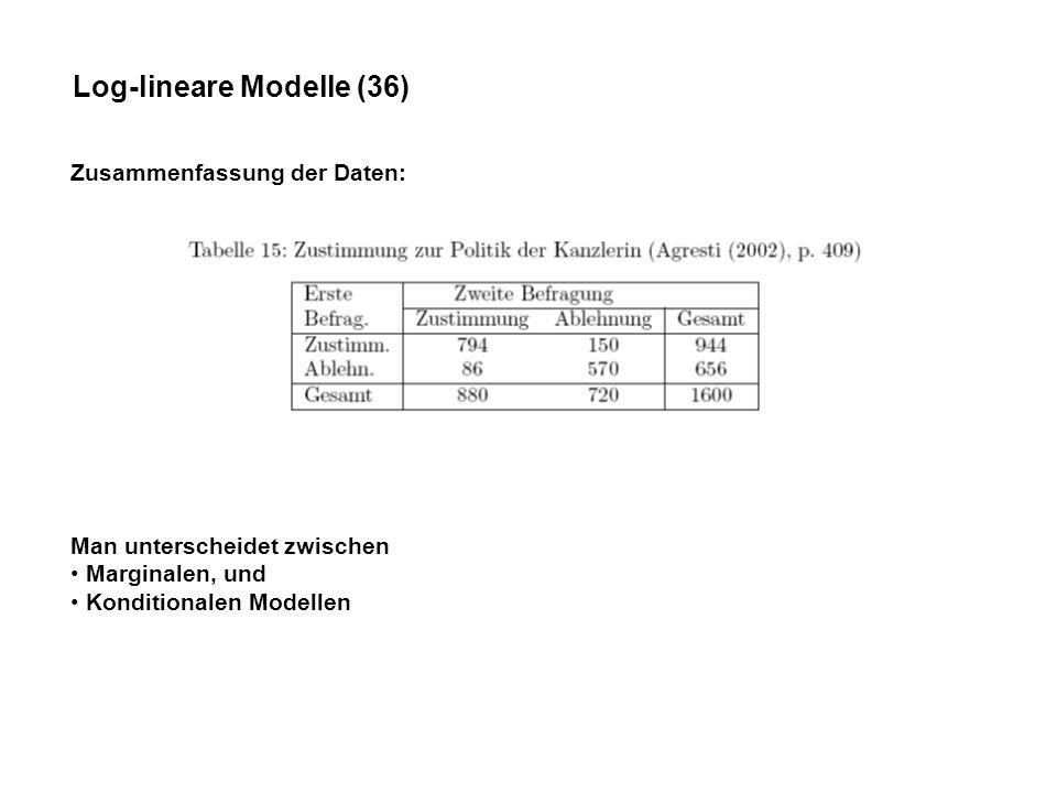 Log-lineare Modelle (36) Zusammenfassung der Daten: Man unterscheidet zwischen Marginalen, und Konditionalen Modellen