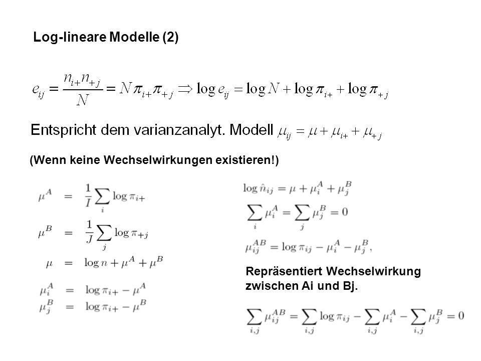 Log-lineare Modelle (2) (Wenn keine Wechselwirkungen existieren!) Repräsentiert Wechselwirkung zwischen Ai und Bj.