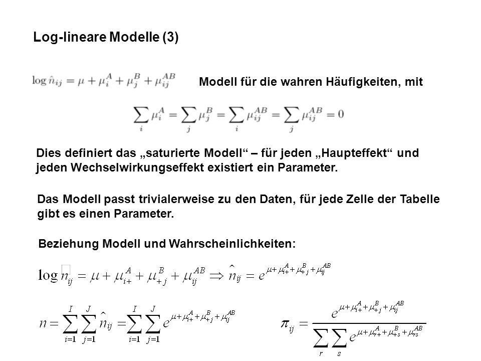 Log-lineare Modelle (3) Modell für die wahren Häufigkeiten, mit Dies definiert das saturierte Modell – für jeden Haupteffekt und jeden Wechselwirkungseffekt existiert ein Parameter.