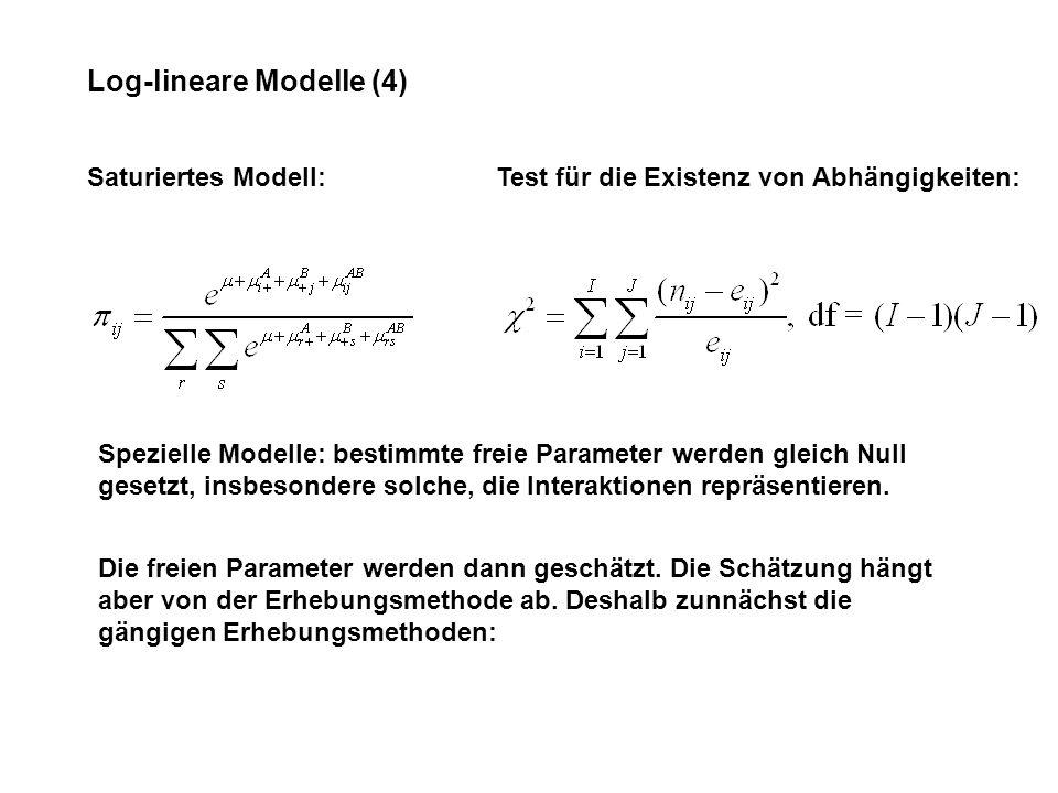 Log-lineare Modelle (4) Saturiertes Modell:Test für die Existenz von Abhängigkeiten: Spezielle Modelle: bestimmte freie Parameter werden gleich Null gesetzt, insbesondere solche, die Interaktionen repräsentieren.