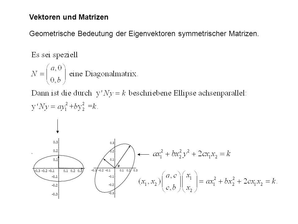Vektoren und Matrizen Geometrische Bedeutung der Eigenvektoren symmetrischer Matrizen.