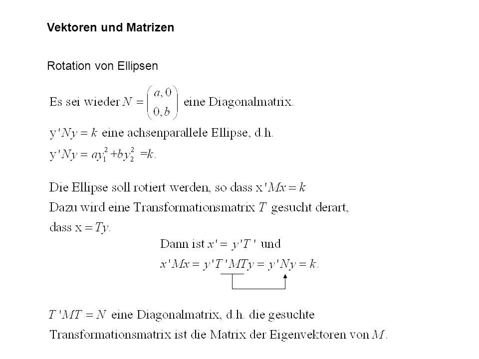 Vektoren und Matrizen Rotation von Ellipsen