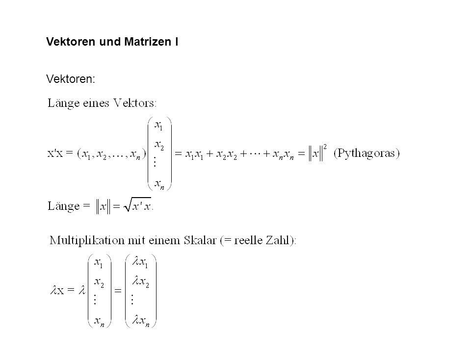 Vektoren und Matrizen I Vektoren: