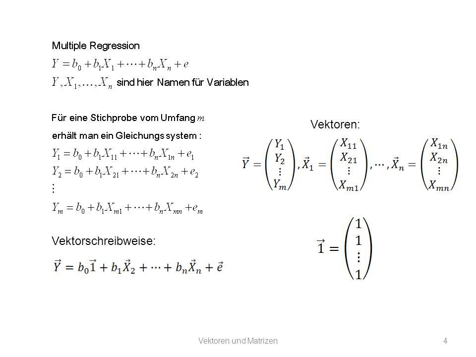 Vektoren und Matrizen5 Mit der Schreibweise sind bereits bestimmte Operationen mit Vektoren eingeführt worden: 1.Multiplikation mit einem Skalar: alle Komponenten werden mit einer bestimmten Zahl multipliziert 2.Addition: Vektoren werden addiert, indem man die zueinander korrespondierenden Komponenten addiert 3.Damit ist auch die Subtraktion definiert: man multipliziert einen Vektor mit dem Faktor -1 und addiert.