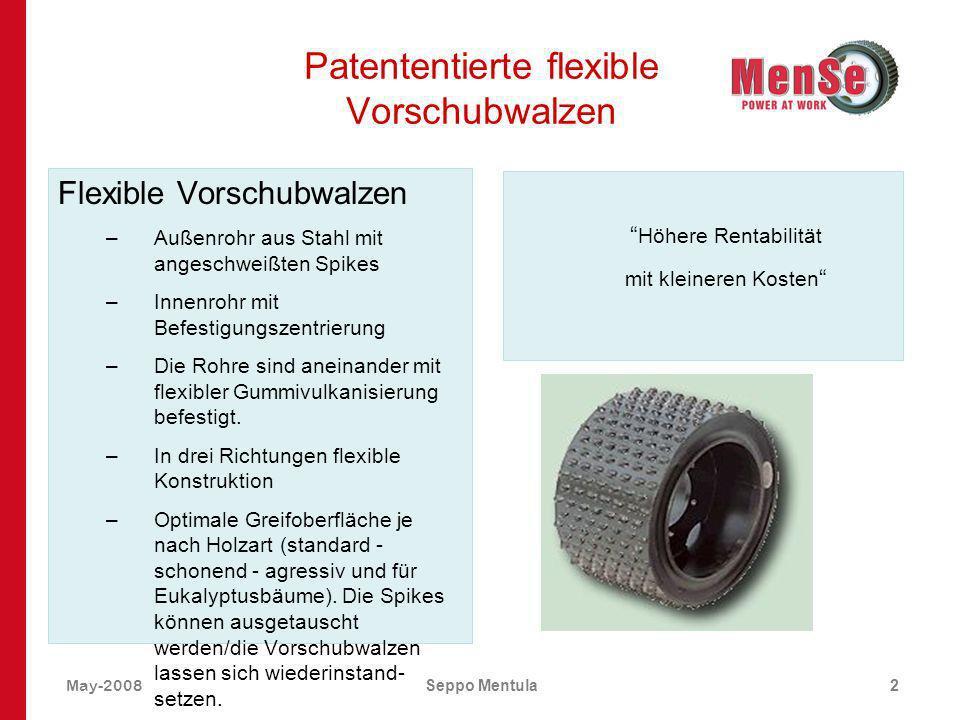 May-2008Seppo Mentula2 Patententierte flexible Vorschubwalzen Flexible Vorschubwalzen –Außenrohr aus Stahl mit angeschweißten Spikes –Innenrohr mit Be