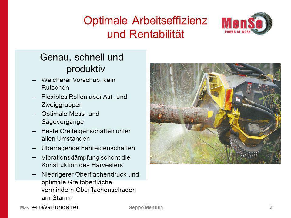 May-2008Seppo Mentula3 Optimale Arbeitseffizienz und Rentabilität Genau, schnell und produktiv –Weicherer Vorschub, kein Rutschen –Flexibles Rollen üb