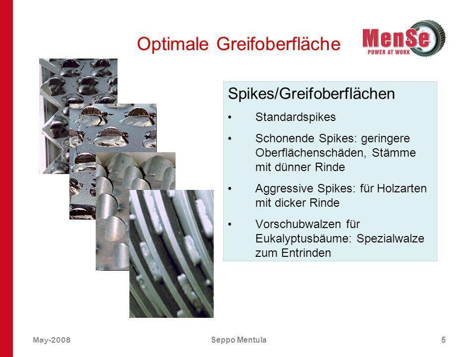 May-2008Seppo Mentula5 Optimale Greifoberfläche Spikes/Greifoberflächen Standardspikes Schonende Spikes: geringere Oberflächenschäden, Stämme mit dünn