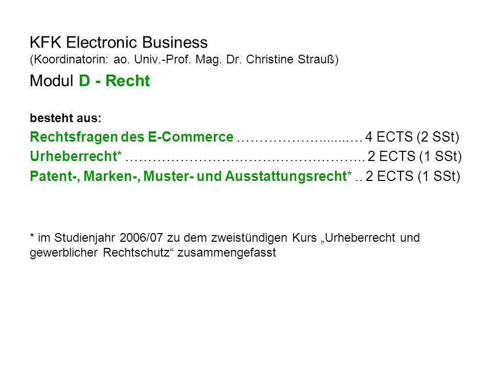 KFK Electronic Business (Koordinatorin: ao. Univ.-Prof.
