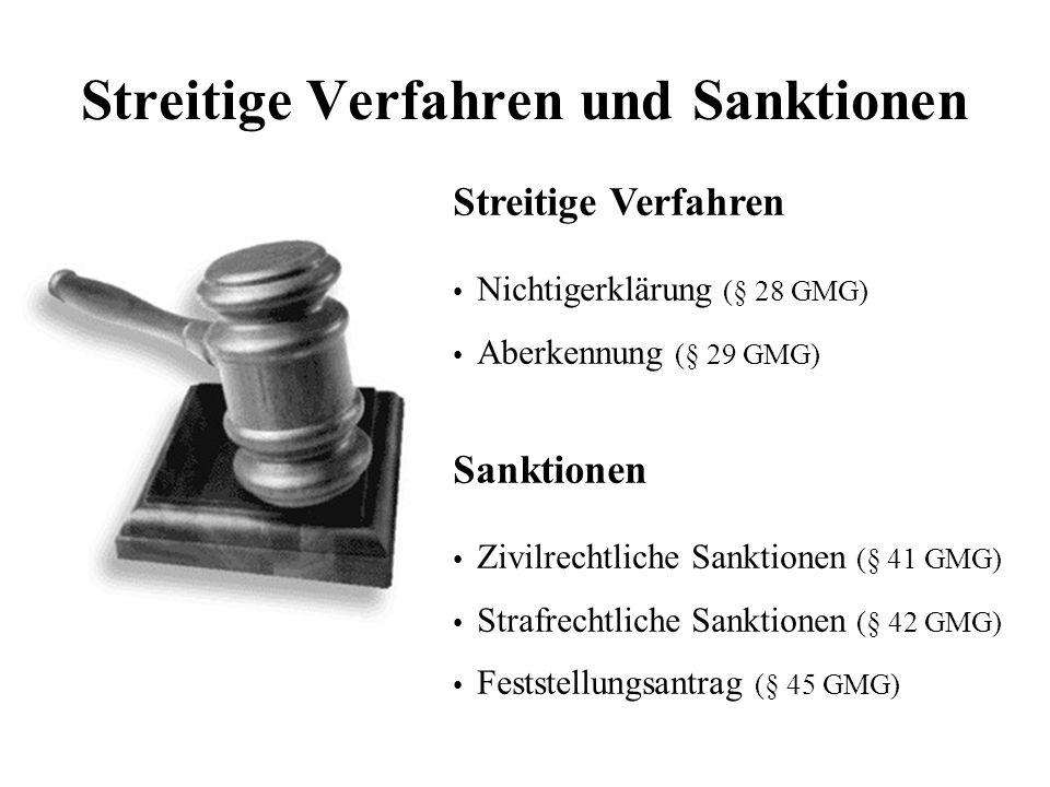 Streitige Verfahren und Sanktionen Streitige Verfahren Nichtigerklärung (§ 28 GMG) Aberkennung (§ 29 GMG) Sanktionen Zivilrechtliche Sanktionen (§ 41 GMG) Strafrechtliche Sanktionen (§ 42 GMG) Feststellungsantrag (§ 45 GMG)