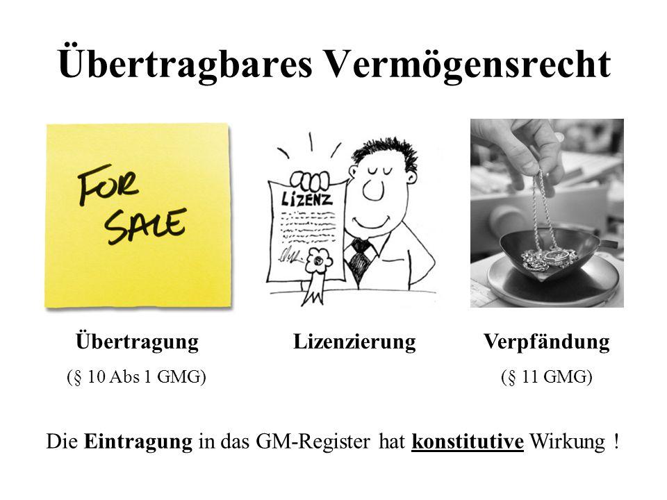 Übertragbares Vermögensrecht Übertragung (§ 10 Abs 1 GMG) LizenzierungVerpfändung (§ 11 GMG) Die Eintragung in das GM-Register hat konstitutive Wirkung !