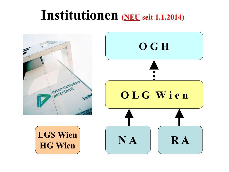 Institutionen (NEU seit 1.1.2014) O L G W i e n LGS Wien HG Wien N AR A O G H