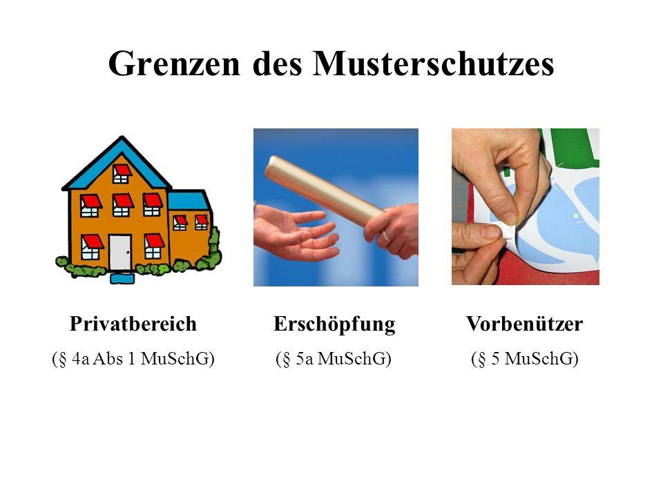 Grenzen des Musterschutzes Privatbereich (§ 4a Abs 1 MuSchG) Erschöpfung (§ 5a MuSchG) Vorbenützer (§ 5 MuSchG)