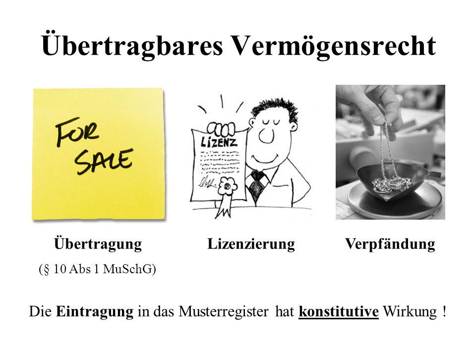 Übertragbares Vermögensrecht Übertragung (§ 10 Abs 1 MuSchG) LizenzierungVerpfändung Die Eintragung in das Musterregister hat konstitutive Wirkung !