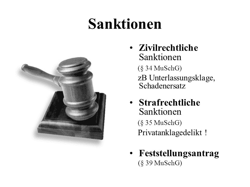 Sanktionen Zivilrechtliche Sanktionen (§ 34 MuSchG) zB Unterlassungsklage, Schadenersatz Strafrechtliche Sanktionen (§ 35 MuSchG) Privatanklagedelikt