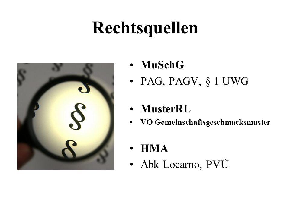 Rechtsquellen MuSchG PAG, PAGV, § 1 UWG MusterRL VO Gemeinschaftsgeschmacksmuster HMA Abk Locarno, PVÜ