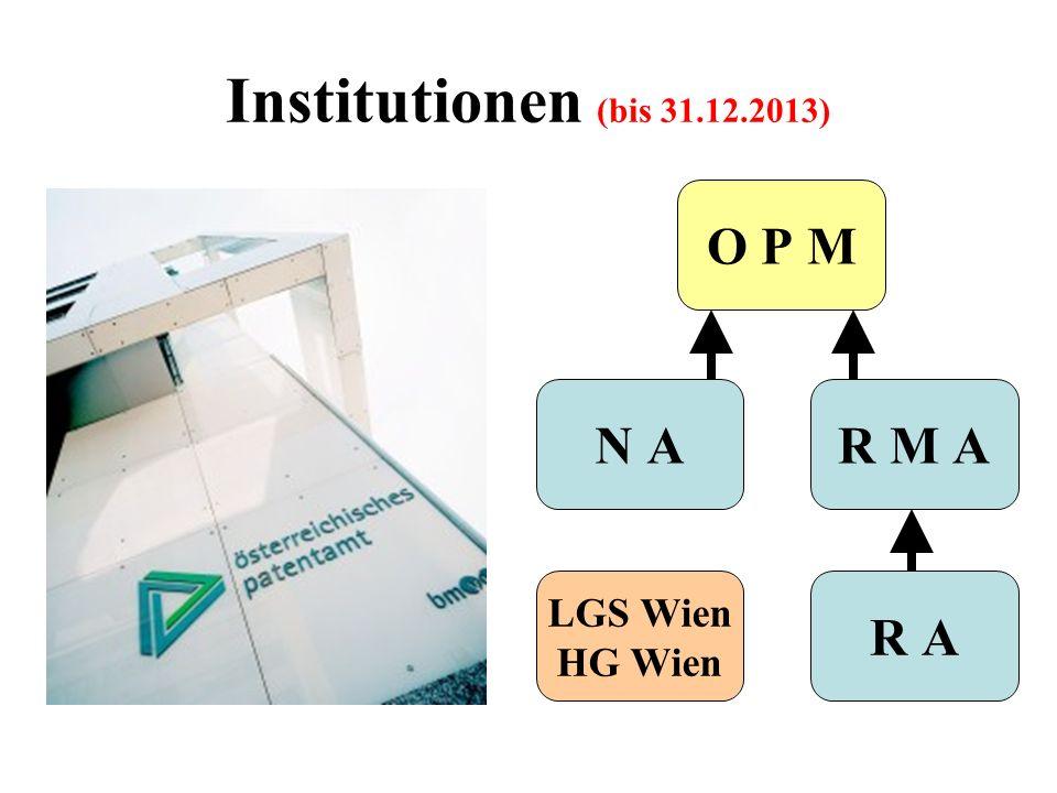 Institutionen (bis 31.12.2013) R M A R A N A LGS Wien HG Wien