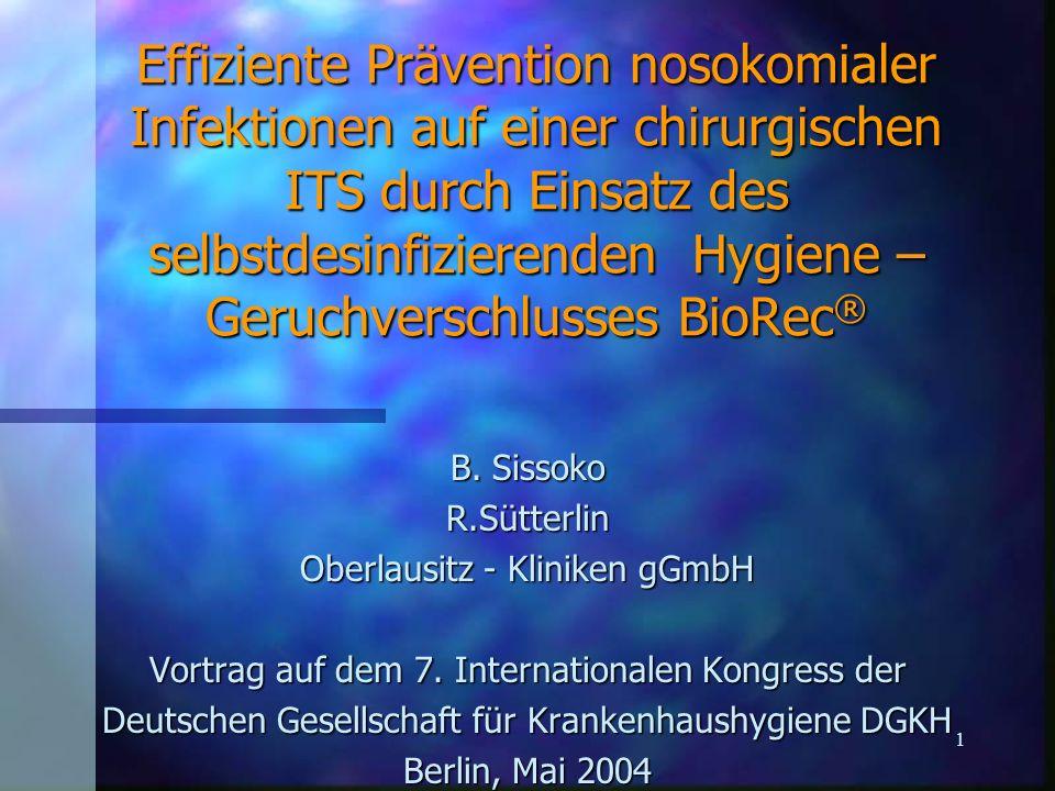 2 Zusammenfassung Durch den Einsatz des Selbstdesinfizierenden Hygiene - Geruchsverschlusses BioRec ® wurden auf der Intensivstation folgende Wirkungen erzielt: n 1.Senkung der Häufigkeit nosokomialer Infektionen um ca.
