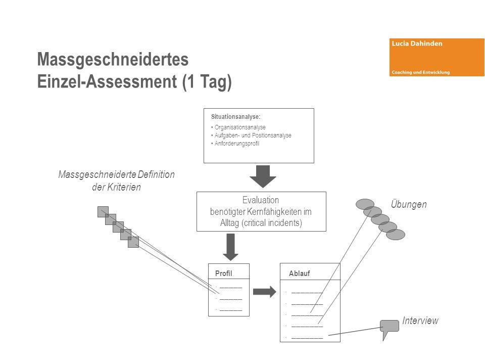 Massgeschneidertes Einzel-Assessment (1 Tag) Massgeschneiderte Definition der Kriterien Evaluation benötigter Kernfähigkeiten im Alltag (critical incidents) Profil.