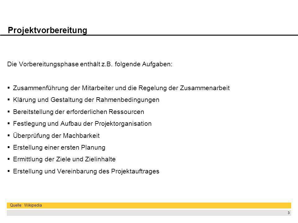 3 Projektvorbereitung Die Vorbereitungsphase enthält z.B. folgende Aufgaben: Zusammenführung der Mitarbeiter und die Regelung der Zusammenarbeit Kläru