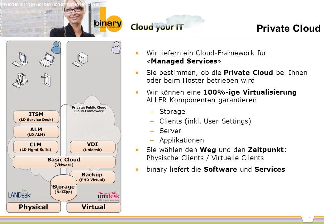 3 Private Cloud Wir liefern ein Cloud-Framework für «Managed Services» Sie bestimmen, ob die Private Cloud bei Ihnen oder beim Hoster betrieben wird W