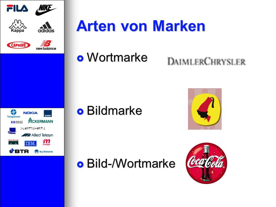 Arten von Marken Wortmarke Wortmarke Bildmarke Bildmarke Bild-/Wortmarke Bild-/Wortmarke