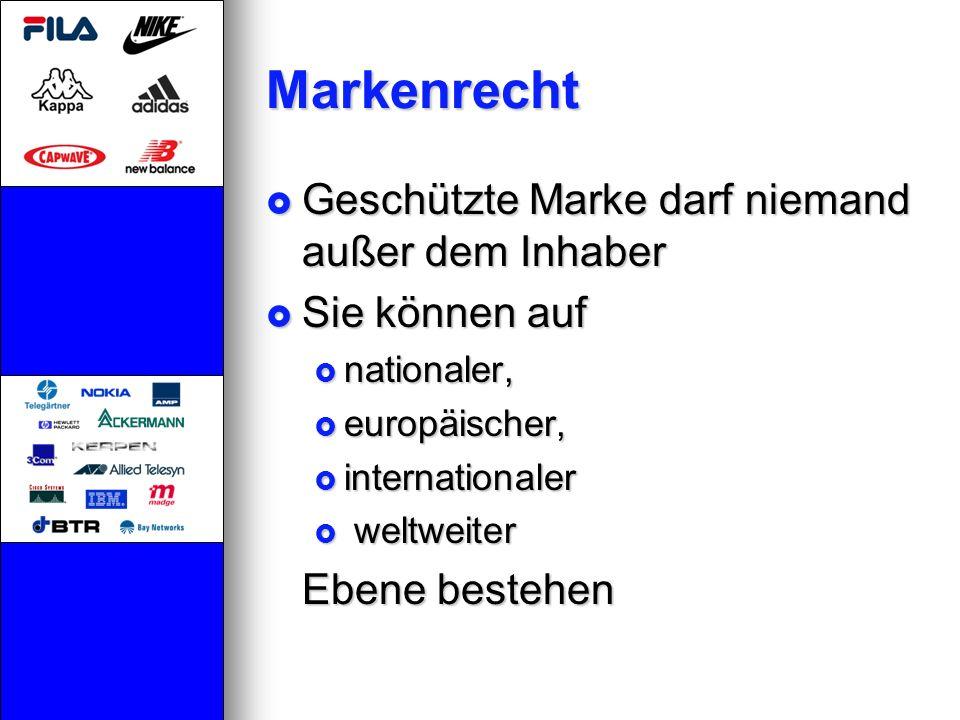 Markenrecht Geschützte Marke darf niemand außer dem Inhaber Geschützte Marke darf niemand außer dem Inhaber Sie können auf Sie können auf nationaler,