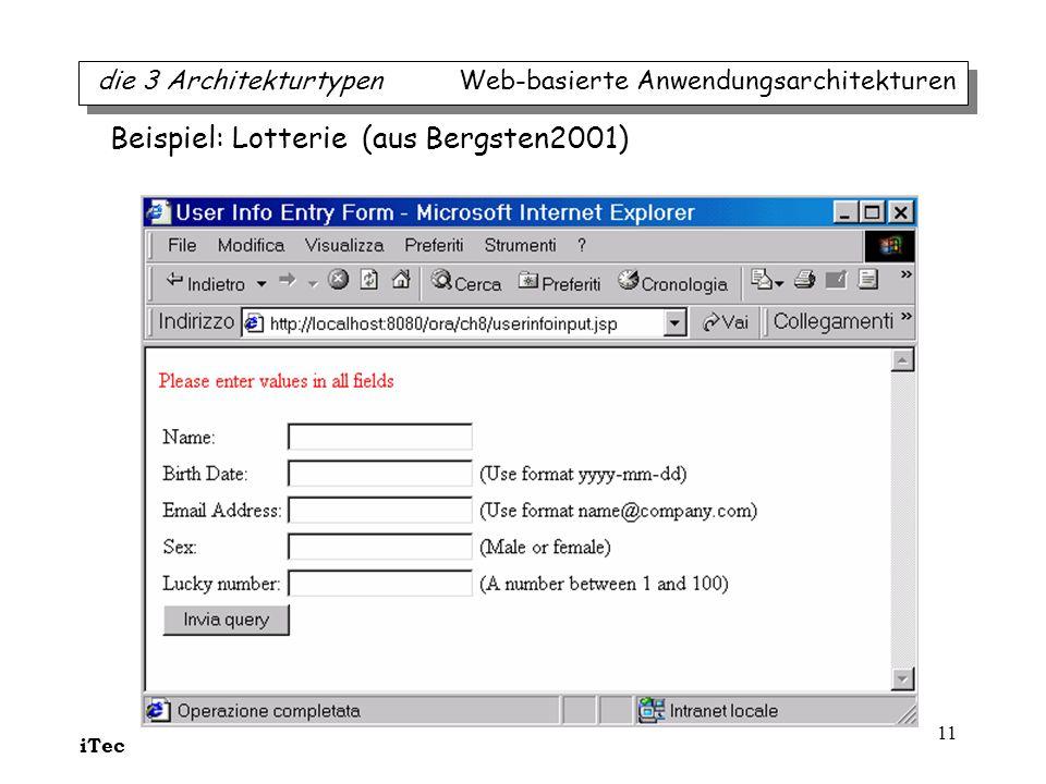 iTec 11 die 3 Architekturtypen Web-basierte Anwendungsarchitekturen Beispiel: Lotterie (aus Bergsten2001)