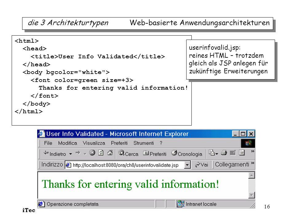 iTec 16 User Info Validated Thanks for entering valid information! userinfovalid.jsp: reines HTML – trotzdem gleich als JSP anlegen für zukünftige Erw